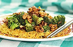 Paleo Hoisin Broccoli w/ Tamari Walnuts and Crispy Noodle Pancake
