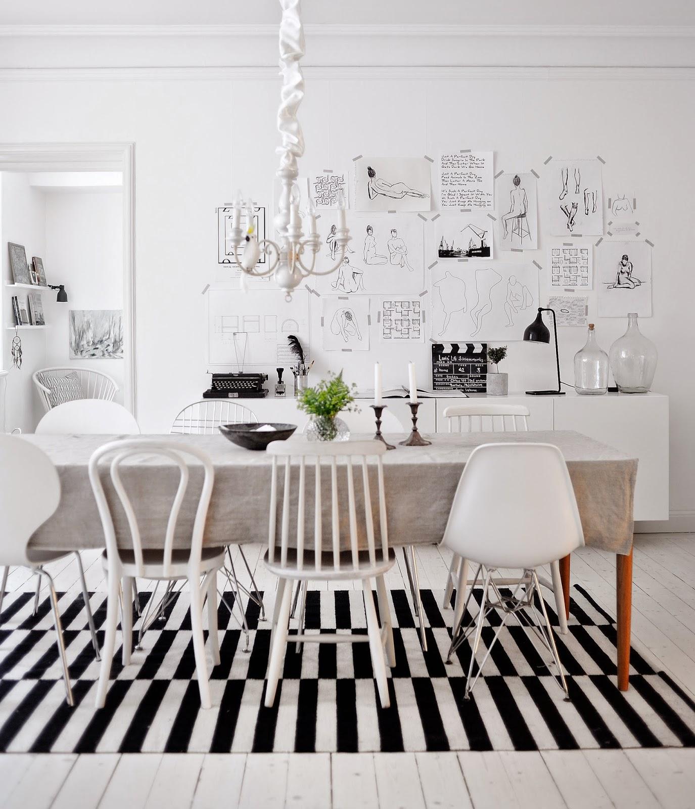 Un int rieur scandinave en blanc et noir - Tapis scandinave noir et blanc ...