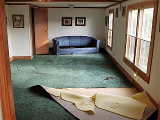 Removing carpet for wood flooring