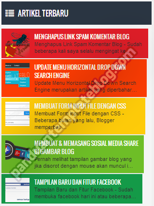 Recent Post: Widget Artikel Terbaru SEO Friendly & Warna Warni