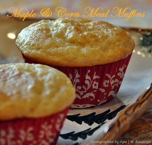Maple Corn Muffins with Maple Butter | Eggless Baking