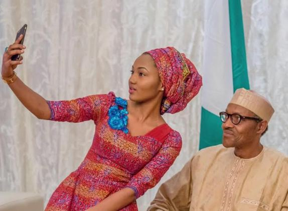 Selfie of Zahra with her Dad, President Buhari