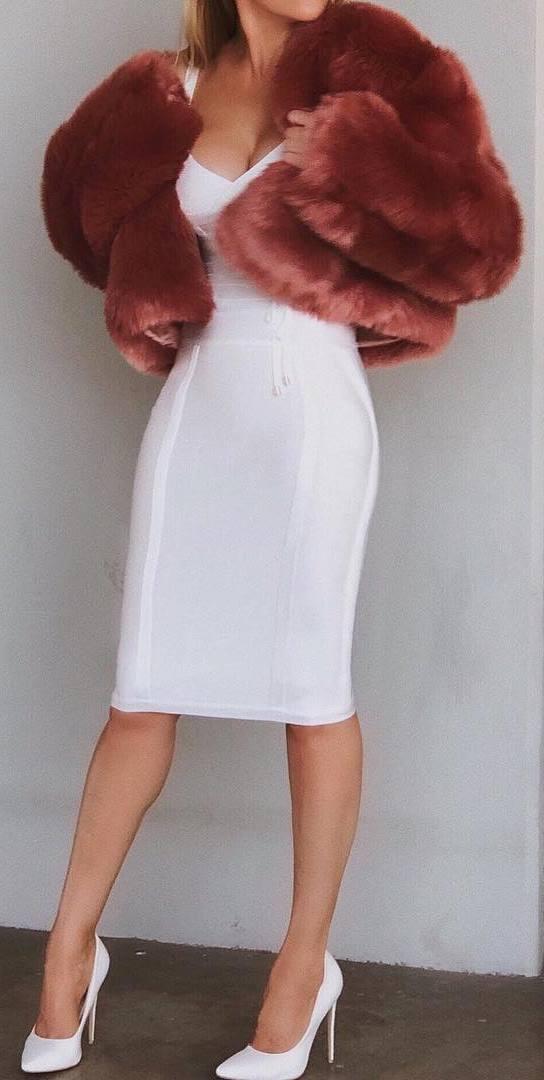 awesome outfit idea : fur jacket + white dress + heels