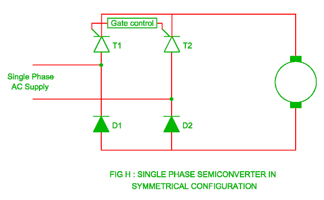 single phase semiconverter in the symmetrical configuration
