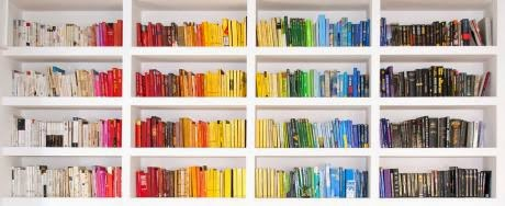 Rainbow Bookshelf Wallpaper