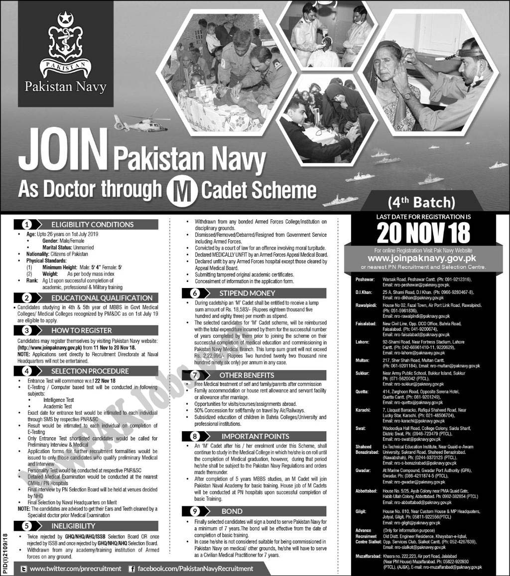 Doctors Jobs in Pakistan Navy November 2018