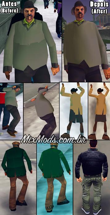 Corrigir o corpo dos pedestres do GTA 3 deixando-os mais suaves (skinned)