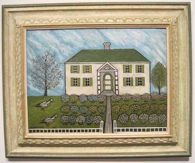 Folk art painting of a house with garden in front
