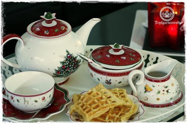 Gartenblog Topfgartenwelt festliche Weihnachtsdekoration in Rot und Weiß + Rezept Flammkuchen: Tee und Kuchen