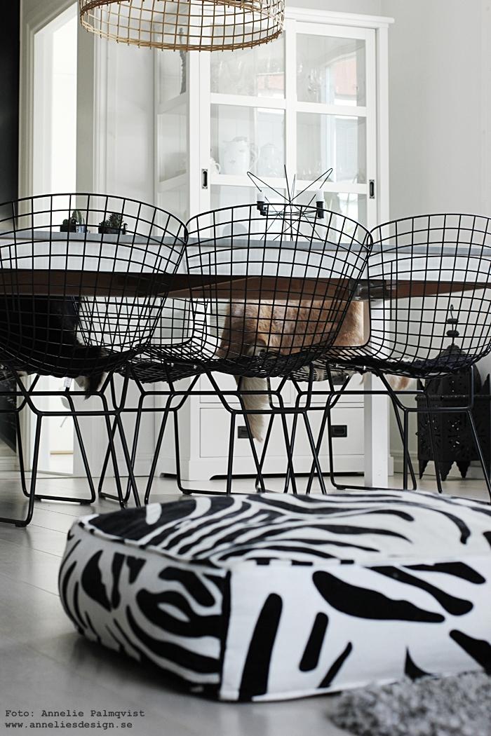 matgrupp, svart och vitt, natur, naturdetaljer, trådstol, trådstolar, stol, stolar, svartvit, svartvita, taklampa, watt och veke, annelies design, inredning, webbutik, webbutiker, webshop, matsal, matsalen, kök, köket, zebra puff, zebra, ljusstake madam stoltz,
