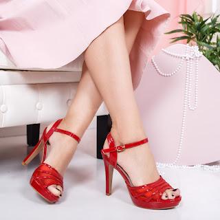 Sandale Bisson rosii cu toc si platforma pentru evenimente