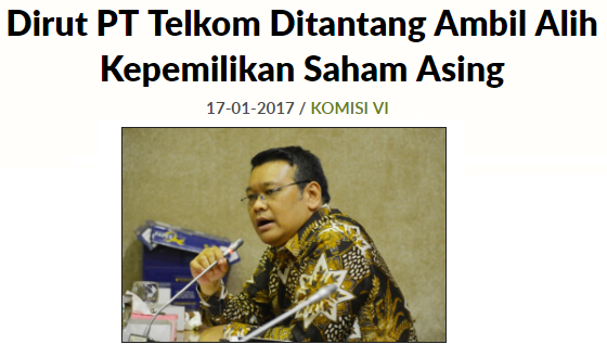 Anggota Komisi VI Eriko Sotarduga, menantang Dirut Telkom untuk mengambil alih kepemilikan saham asing di Telkomsel.