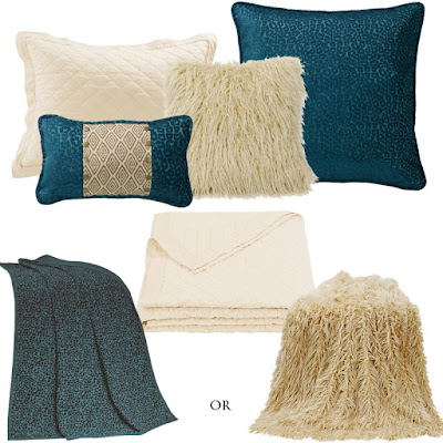 Alamosa teal leopard euro sham, throw and decorative throw pillow, cream linen quilt, cream Mongolian faux fur pillow and throw