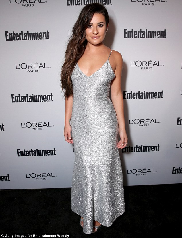 Lea Michele sparkles in low cut dress at the pre-Emmys Bash in LA