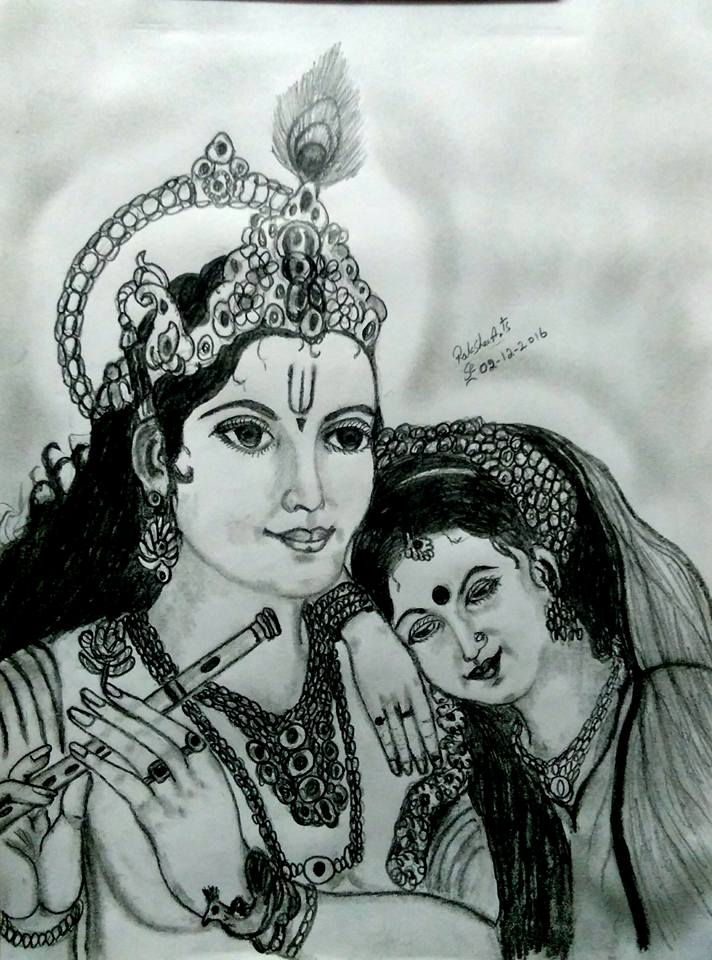PENCIL DRAWING - RADHA KRISHNA