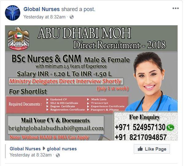 ABU DHABI MOH DIRECT RECRUITMENT-2018 ~ WORLD4NURSES