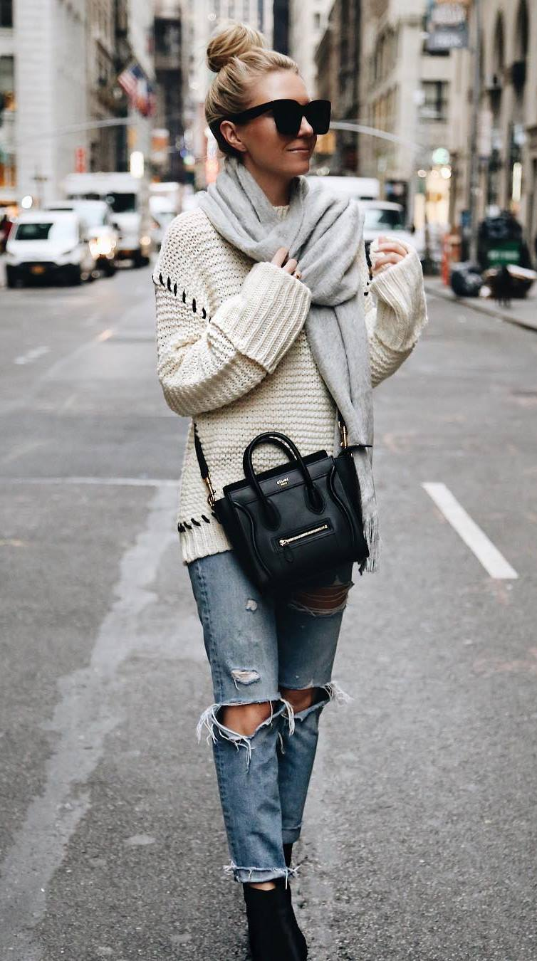 what to wear this fall : bag + scarf + knit sweater + boots + ripped jeans