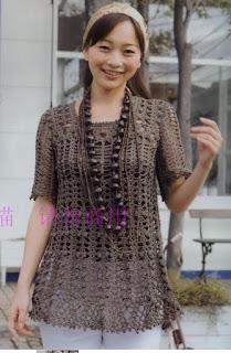 wzor szydelkowej bluzki koronkowej
