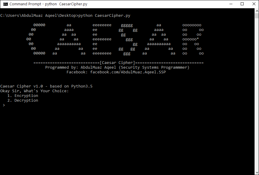 Caesar Cipher - Python Script - AdbulMuaz Aqeel