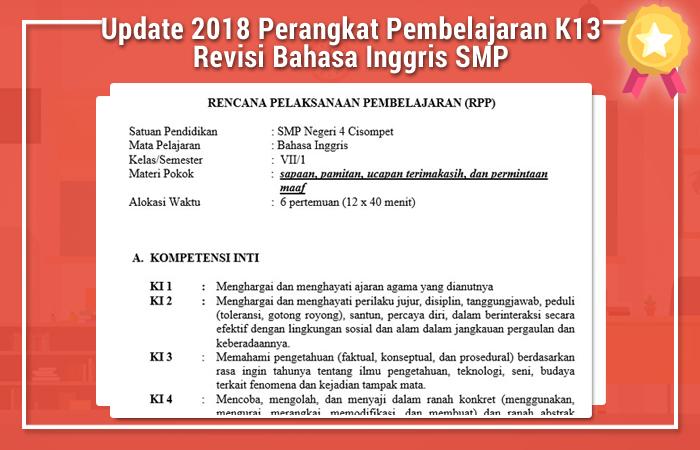 Update Selasa 15 Mei 2018 Perangkat Pembelajaran K13 Revisi Bahasa Inggris SMP