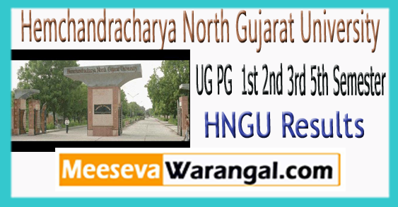 HNGU Univesity UG PG 1st 3rd 5th Semester Results 2017-18
