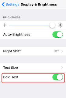 Brightness and display Screenshot