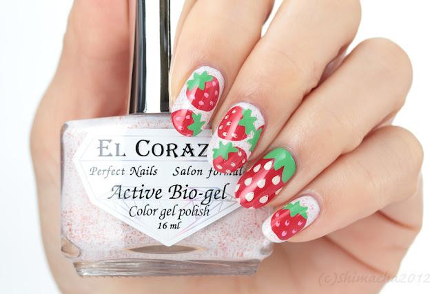 Strawberry nails, el corazon, stamping nail, pueen, いちごねいる, スタンピングネイル, エルコラソン