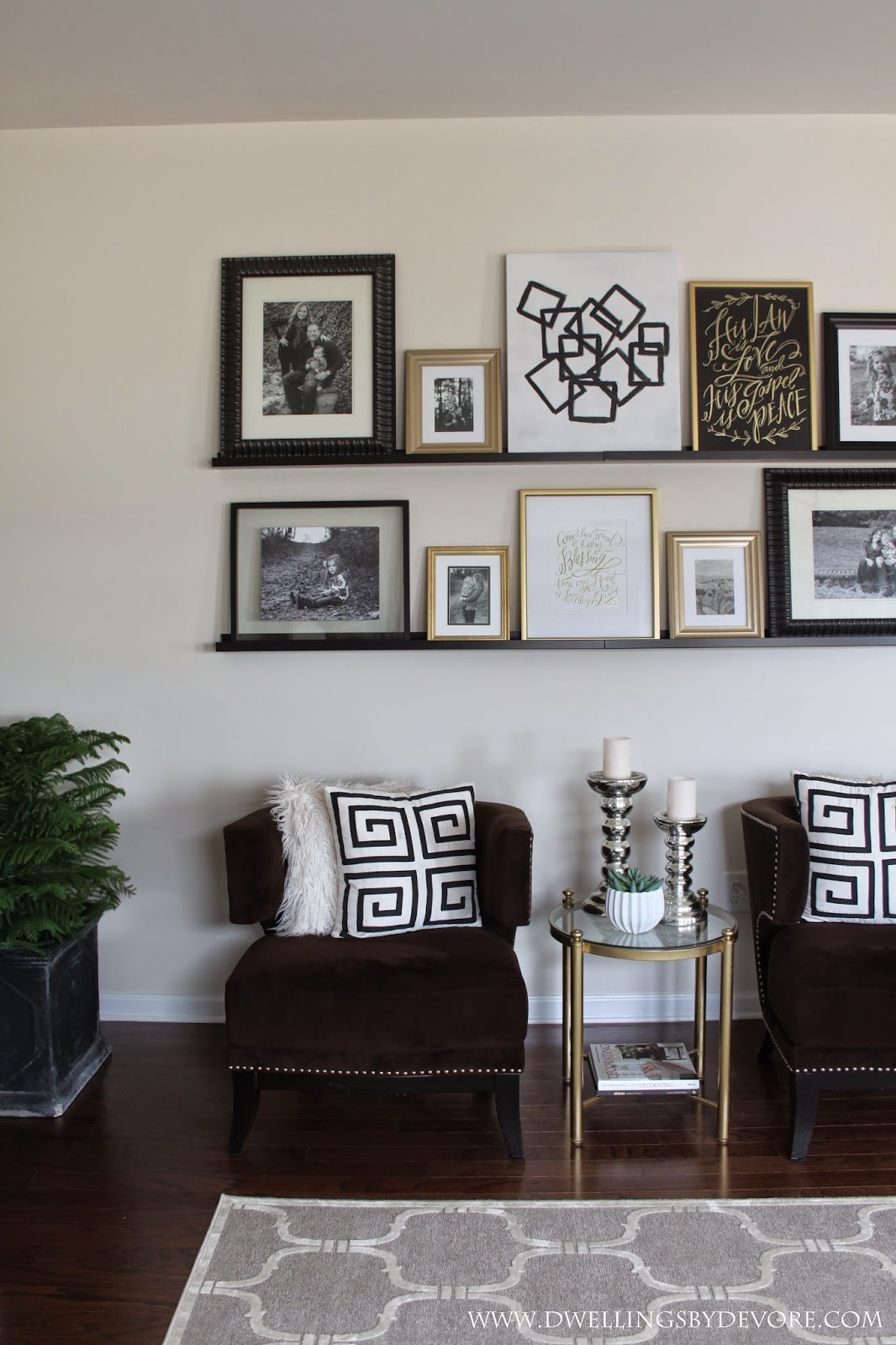 How To Decorate Your Living Room For Christmas Dwellings By Devore Picture Ledge Gallery Wall