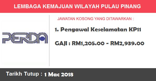 Jawatan Kosong di Lembaga Kemajuan Wilayah Pulau Pinang (PERDA)