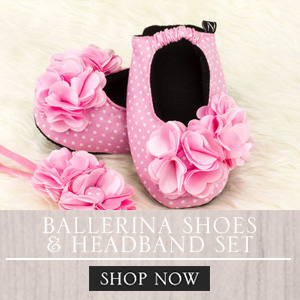 baby ballerina shoes and headband