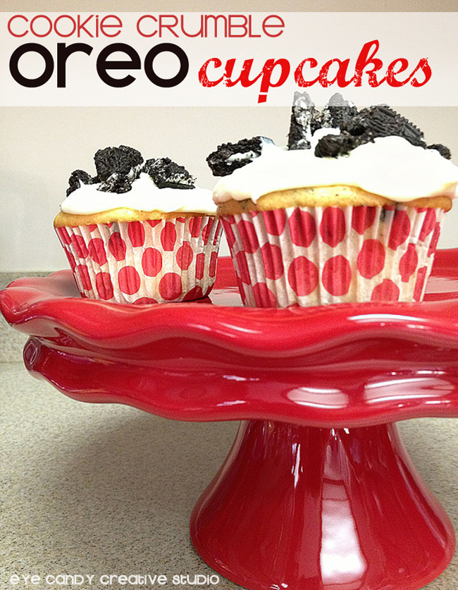 Oreo cupcakes, cookie crumble cupcakes, red cake stand, polka dots
