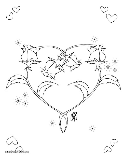 Roses Heart Shape Coloring Page
