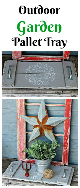 Stenciled Pallet Garden Tray #mandala #pallet #repurposed #gardentray #gardendecor