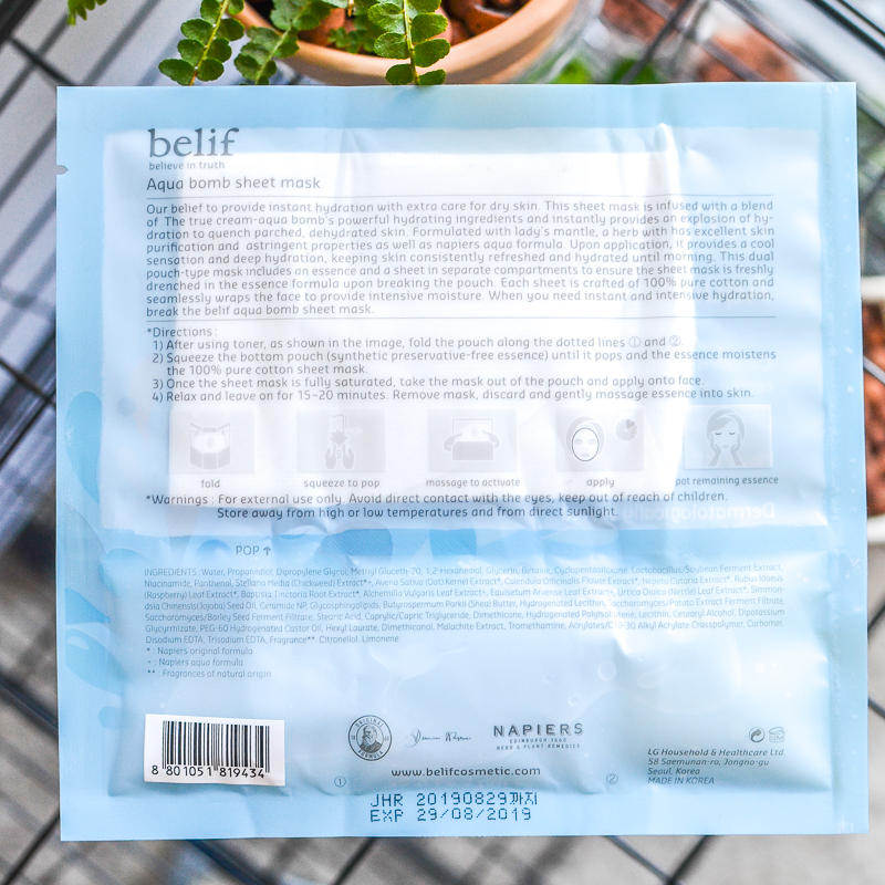 Belif Aqua Bomb Sheet FacevMask - Skincare Review - How to Use - Ingredients