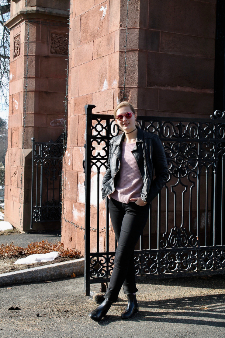 Leather jacket, dusty pink sweater, pink sunglasses + Chelsea booties