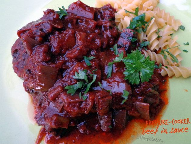 Pressure-cooker beef with sauce by Laka kuharica: tender meat in aromatic, rich and hearty, yet light sauce.
