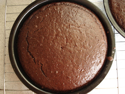 Vegan Gluten Free Chocolate Cake cooling on a rack