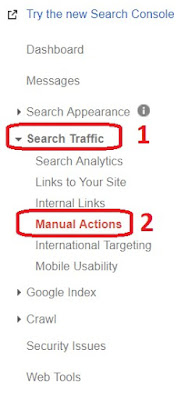 """Search Traffic"" then ""Manual Actions"""