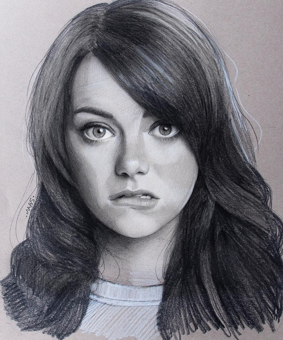 08-Emma-Stone-Justin-Maas-Pastel-Charcoal-and-Graphite-Celebrity-Portraits-www-designstack-co