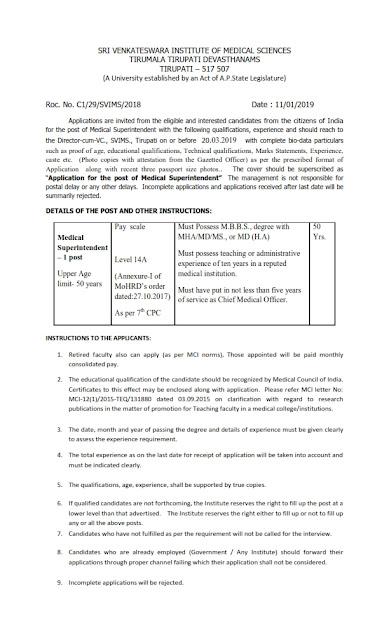 Medical Superintendent Posts in SVIMS, Tirupat, Andra Pradesh
