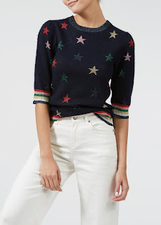 Look no further for a wow jumper than this cashmere jumper emblazened with stars from Donna Ida.
