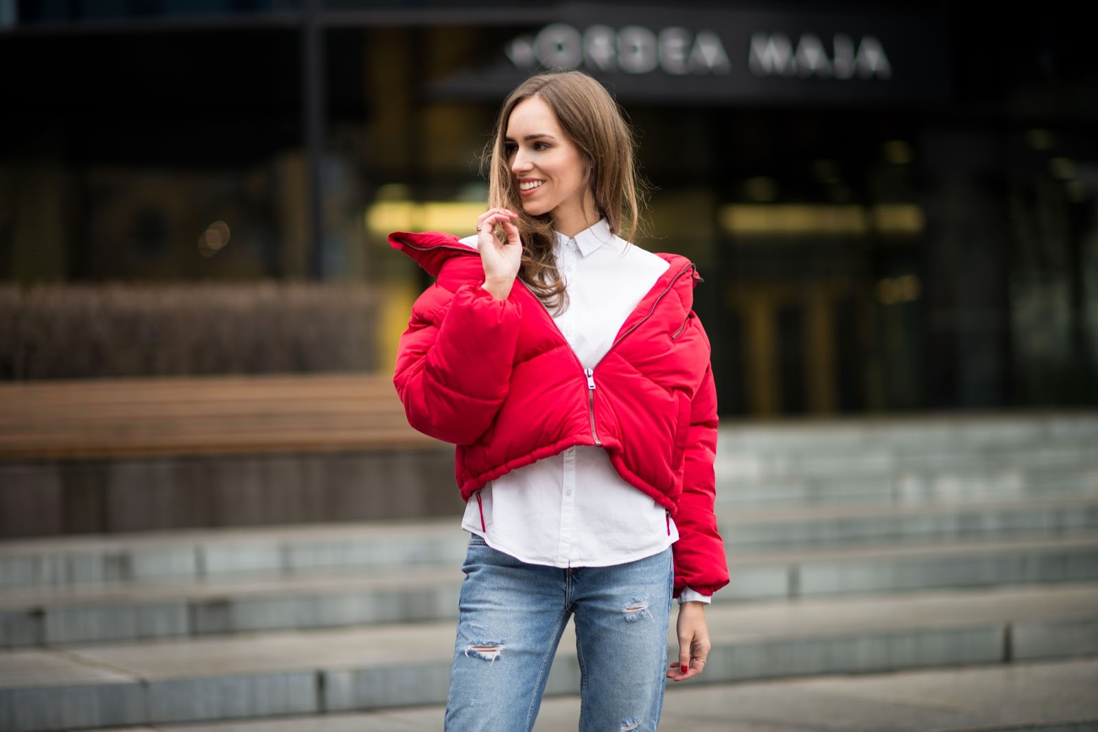 red padded jacket street style