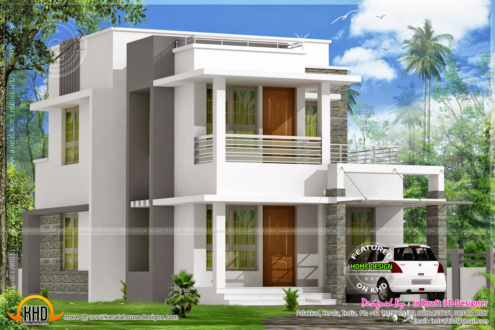 June 2014 kerala home design and floor plans for Flat roof home plans