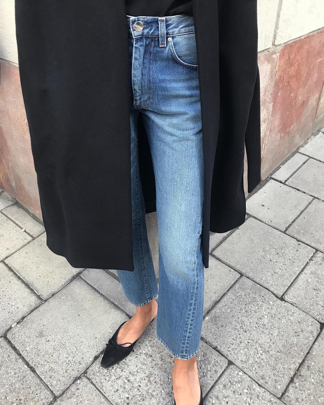 Minimalist Fall Outfit Inspiration — Black Coat, Jeans, and Manolo Blahnik Mule Flats