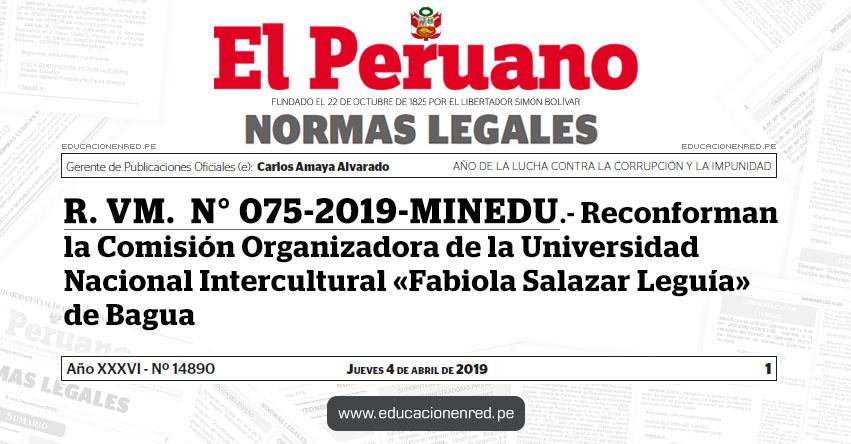 R. VM. N° 075-2019-MINEDU - Reconforman la Comisión Organizadora de la Universidad Nacional Intercultural «Fabiola Salazar Leguía» de Bagua - www.minedu.gob.pe