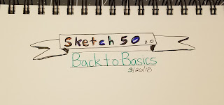 Sketch 50 written in different colors inside banner with Back to Basics in manuscript font