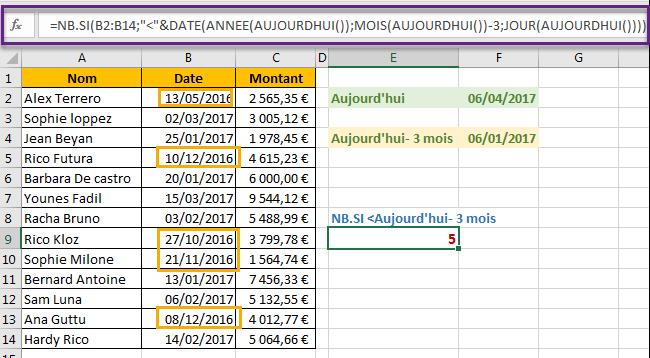 NB.SI avec critère date inférieur à 3 mois