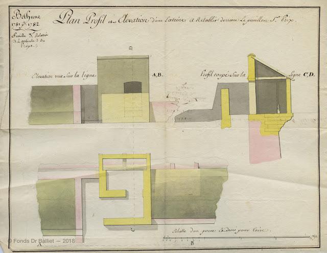 Béthune - Latrine à rétablir derrière le pavillon St Prix (ndr Saint-Pry). Projet pour l'année 1782 [1781] (ms. fonds Balliet)