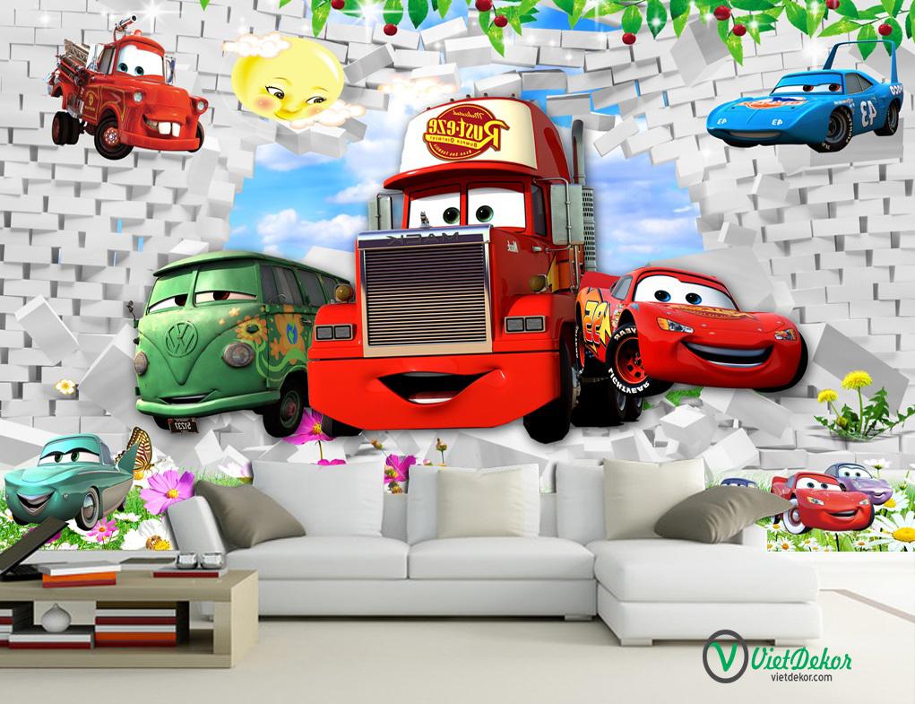 Tranh dán tường 3d  ô tô trang trí phòng cho bé yêu