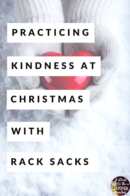 An inexpensive, easy to prep, Christmas classroom activity you can use for the entire month of December! RACK sacks are a simple way for your students to practice kindness during the holidays and all you need is paper bags and copies! Introduce this activity at the beginning of December and use for the whole month as a center, fast finisher, or writing activity in 2nd, 3rd, 4th, or 5th grade classrooms. #christmas #rack #free #freebie #christmasintheclassroom